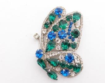Hobe Butterfly Brooch clear green blue rhinestones figural hard to find AA601