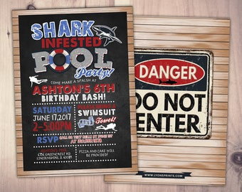 Pool party invitation - Shark invitation for pool party -  shark invitation - Shark infested pool party birthday, Swimming, Pool Party, Jaws