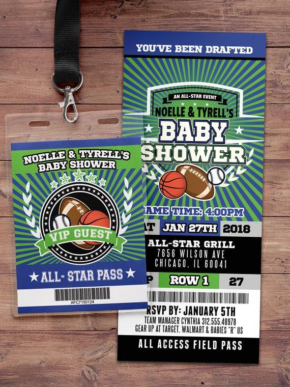 Football ticket Invitation, Baby Shower, All Star Birthday, VIP pass ...