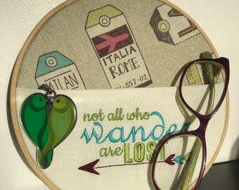 Not all who wander are lost, hooped embroidery, in the hoop embroidery, pocket hooped embroidery, hipster, traveller