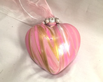 Pink White & Gold Swirl Acrylic Pour  Painted Glass Heart Ornament Rhinestones Pearls Ribbon