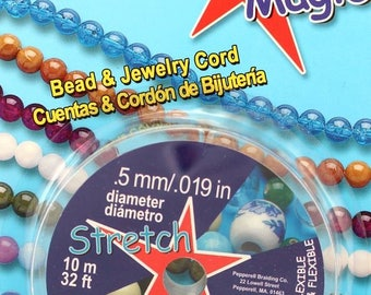 Stretch Magic 0.5 mm Elastic Beading & Jewelry Cord - 10 Meters - Size .5mm - Clear