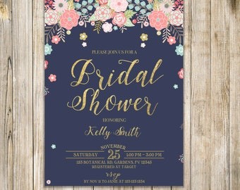 Navy FLORAL BRIDAL SHOWER Invitation, Rustic Bridal Shower Invite, Garden Bridal Shower Invite, Wedding Shower Luncheon, Brunch and Bubbly