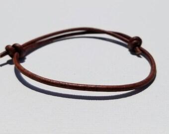 Men's/Women's Brown Leather Slide Knot Bracelet