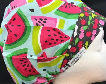 Watermelon bouffant Scrub Hats for Women Surgical Cap Surgery Hat OR Scrub Caps Medical Nurse Hat Blue LoveNstitchies Cherries Pink