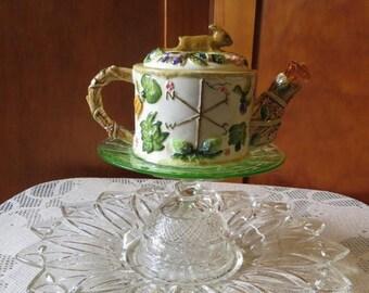 On SALE Garden Art, dessert stand, bird feeder, jewelry dish, gift for her, bunny teapot, cupcake stand, serving tray, garden totem, yard ar