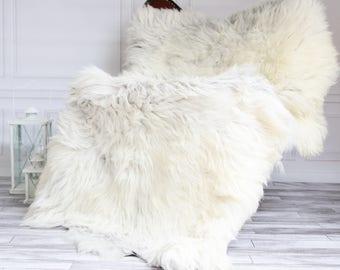 Rare Organic Sheepskin Throw | Gray Beige Throw | Gray Sheepskin Rug | Triple Sheepskin Rug | 170 x 115 sheepskin