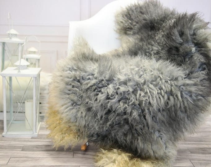 Genuine Rare Gotland Sheepskin Rug - Curly Fur Rug - Natural Sheepskin - Gray Sheepskin #DECGOT13
