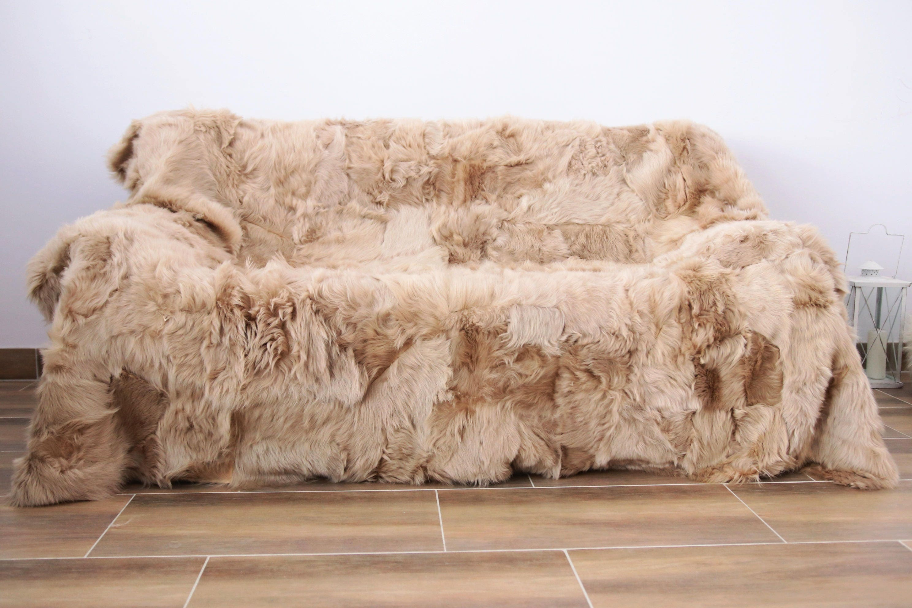 Real Sheepskin Toscana Blanket Throw, Champagne Fur Sofa Throw ... for Sheep Fur Blanket  110zmd