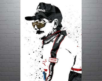 Dale Earnhardt NASCAR Poster, Art Print, Kids Decor, Watercolor Contemporary Abstract Drawing Print, Man Cave