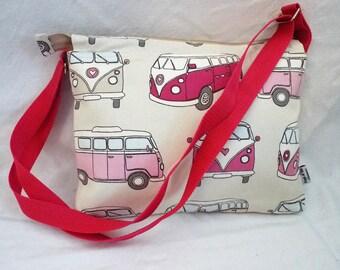 Pink Campervan fabric messenger, VW Bag, fabric bag, shoulder bag, across body bag, Retro mm0069