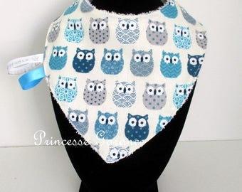 Birth, teething * bib, bandana, cotton, cool shades of blue, white sponge to order