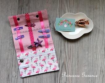 Christmas, birthday * bag, pouch to slip hair clip, elastic, cotton, flamingos, to order