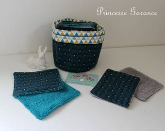 12 wipes washable, cotton Japanese fans, triangles, sponge, small matching pouch, to order