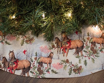 horse christmas tree skirt tree skirt holiday decoration horses wreath scarf - Rustic Christmas Tree Skirt