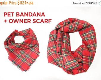 15% off Scarf women scarf men scarf infinity scarf blanket scarf pet scarf pet clothing red dog bandana cat matching dog owner shawl owner c