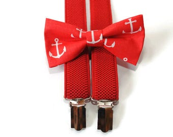 birthday gift for boys red nautical bow tie and red adjustable suspenders set for birthday party gift ideas daddy and son matching outfit