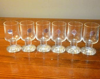 New in Box - Set of 6 Crystal Stemmed Schnapps Shot Glasses - Schott Zweisel Schnappsglaser