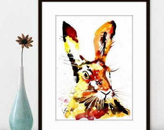 Watercolor Painting Print - 'RABBIT ' - Fall home decor and wall art