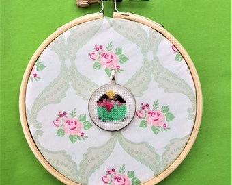 Handmade cross stitch necklace cupcake