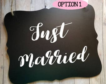 Just Married With Options - Wedding Sign - Flower Girl Sign - Ring Bearer Sign - Ring Bearer Sign - Bride - Groom - Wedding Decor