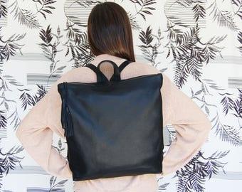Laptop backpack, Black leather backpack, backpack for women, leather school bag, womens backpack, black leather bag, student backpack
