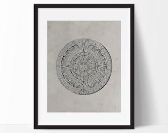 Mayan Calendar Stone Art Print - Wall Art  - Mexican Art