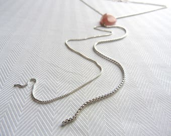 Necklace 925 sterling silver and pink natural stone