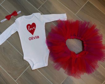 Valentine's Day Personalized Love Outfit with Bodysuit, Tutu and Coordinating Hair Bow Headband