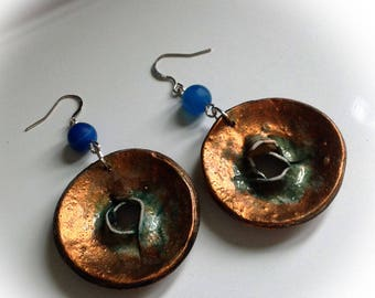 Earrings, hoop, turquoise, antique gold polymer clay.