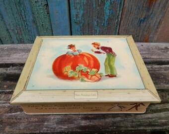 Peter Pumpkin Eater Vintage Tin Box, 1940s Nursery Rhyme, 1946 Halloween Decor, Orange Pumpkin, The Metal Box Co., Barringer Wallis Manners