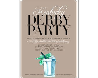 Kentucky Derby 5x7 Invitation with hand-painted Mint Julep - 144th Run for the Roses - Printable and Personalized