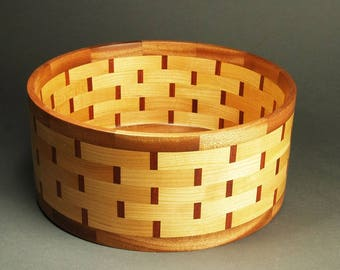 Cherry Salad Bowl with Mahogany Accent Basket Weave