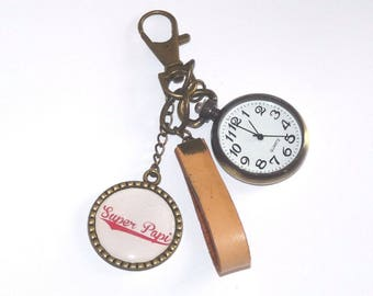 Watch FOB and hook leather message SUPER GRANDPA keychain
