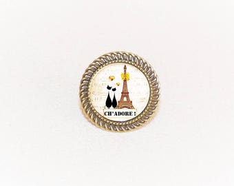 Cat lovers in beige/yellow/black Eiffel Tower pendant and adjustable bronze ring