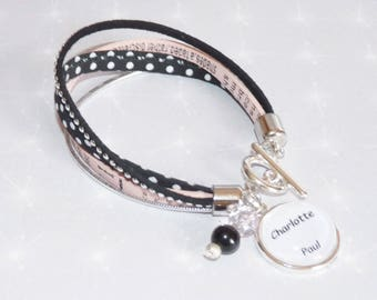 Bracelet personalized name pink leather, cord liberty dot suede Rhinestone Charm Crown, pearls