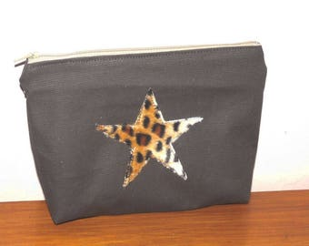 khaki canvas bag pouch and its star leopard faux fur