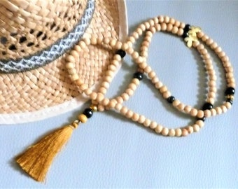 Long necklace wood beads natural/beige/black/gold, gold butterfly and camel/gold tassel