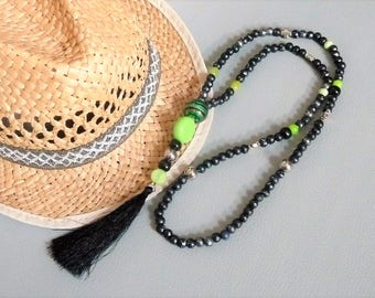 Necklace long boho Bohemian beads natural wood tone black/green/argenbt cross