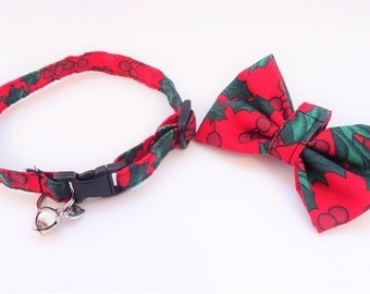 Christmas // Cat Collar optional bow // Red with holly & berries