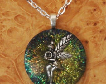 Orgone Energy 3rd Eye / Pineal Gland Fairy Chakra-Tuning 27mm Unisex Pendant Necklace harmonizing crystals Moldavite