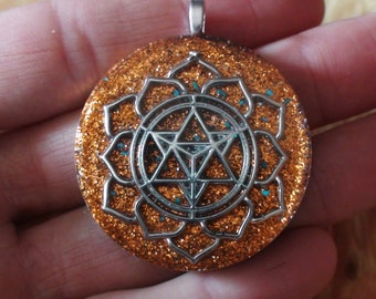 Sacred Geometry Meditation Archangel Metatron's Cube Sacral Chakra Antenna Ormus Orgone Necklace Pendant 40mm Orange Blue Chrysocolla Flecks