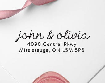 Return Address Stamp, Custom Self-Inking Stamp, Self Ink Return Address Stamp, Rubber Wood Stamp, Wedding Stamp, Ship from the U.S., PS42