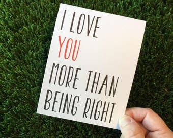 Funny I love you card / Funny relationship card / funny dating card / funny love you card / i love you more than card / funny anniversary