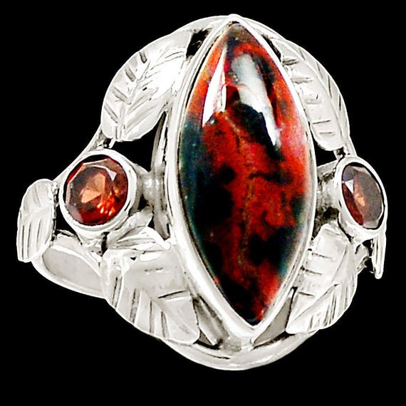 Blood Stone 925 Sterling Silver Ring Jewelry s.7.5