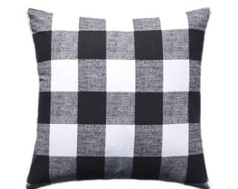 SALE Black and White Buffalo Check Pillow Cover, Throw Pillow, Decorative Pillow, Anderson Cushion Cover, Black and White Plaid Buffalo Chec