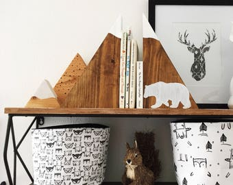 Woodland Bear Stained Mountain Bookends and mountain set, woodland nursery, wooden mountains, painted mountain set