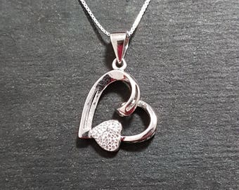 New 14k White Gold On 925 Double Hearts Pendant Charm
