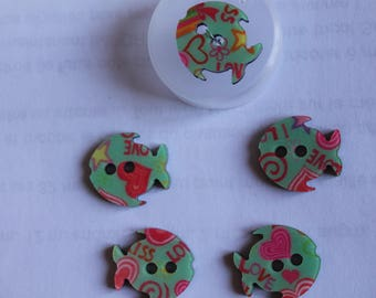 fancy button small fish printed