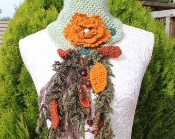 hand knitted scarf, collar, fancy,